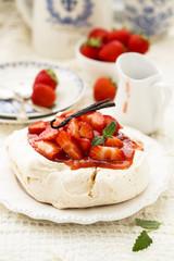 Pavlova dessert with strawberry