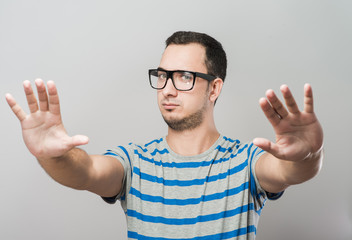 Man showing stop gesture