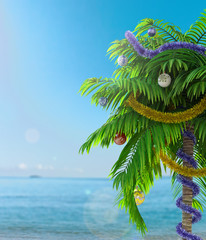 New Year palm tree with decoration concept holiday background