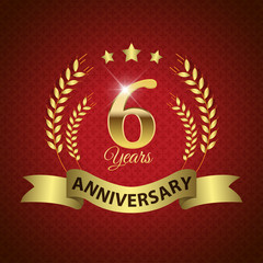 Celebrating 6 Years Anniversary, Golden Laurel Wreath & Ribbon