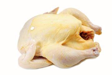 Whole Raw Turkey or Chicken Isolated on White