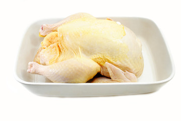 Whole Turkey in a White Roasting Pan