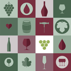 Wine. Icon set