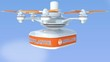 Drone carrying AED medical kit for emergency  concept