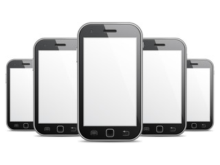 Row of black mobile phones with blank screens.