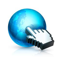 Computer cursor pointing on world globe.