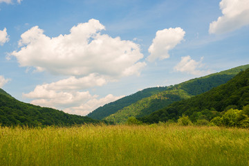Beautiful scenic view over the Carpathian mountains