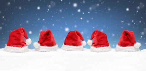 Weihnachtsmütze  / Schnee /  Hintergrund