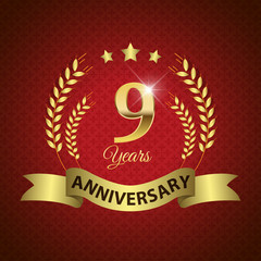 Celebrating 9 Years Anniversary, Golden Laurel Wreath & Ribbon