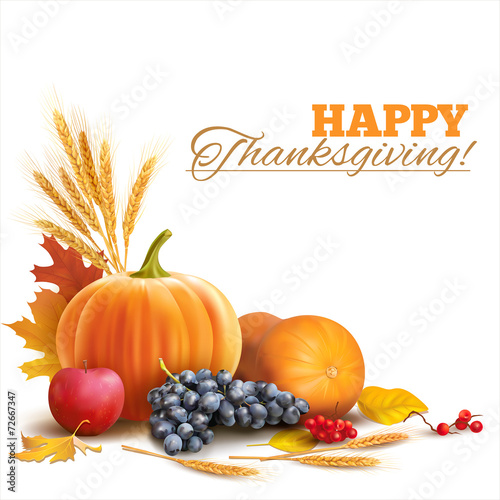 Happy Thanksgiving composition on white. Vector - 72667347