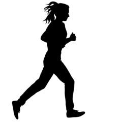 Silhouettes. Runners on sprint, women. vector illustration.