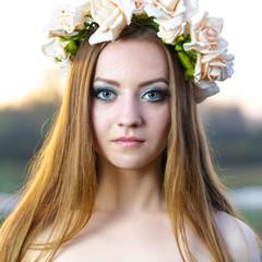 girl with a wreath