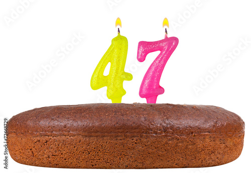Poster birthday cake with candles number 47 isolated