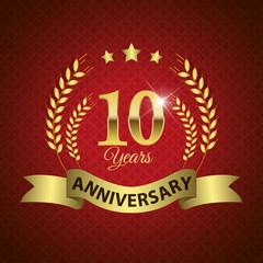 Celebrating 10 Years Anniversary, Golden Laurel Wreath & Ribbon