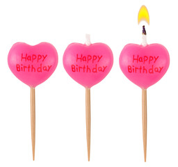 Birthday burning candle heart set isolated on white background