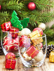 Festive Christmas Ornaments with Gifts and Balls