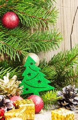 Christmas Tree Decoration with Balls on Fir Tree Background