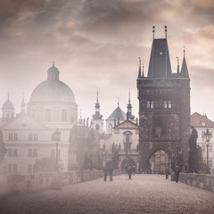 Charles Bridge misty morning, Prague