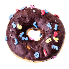 Donut with letters over white