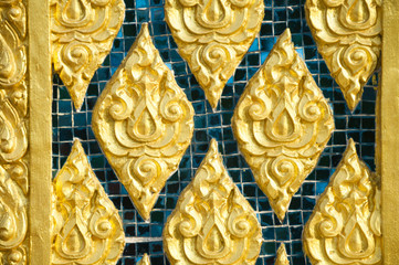 Tile art on the temple wall Pattani, Thailand
