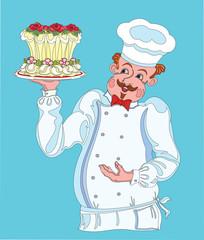 Кондитер с красивым тортом на тарелке.