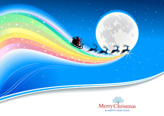 Santa Claus and reindeers flying with a tailing rainbow