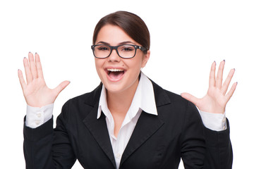 Cheerful beautiful young business woman