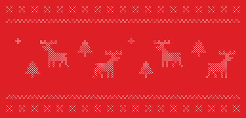 Knitted traditional Christmas style motif, pixelated pattern