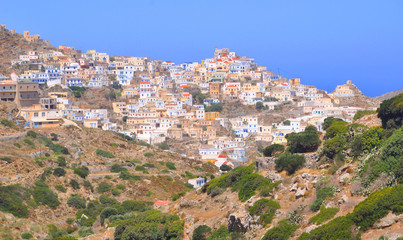 Overall view of Olympos village on Karpathos island, Greece