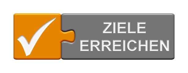Puzzle Btton orange grau: Ziele erreichen
