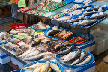 Raw fish at traditional market in Taiwan