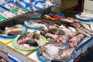 Raw fish at traditional market in Taiwan