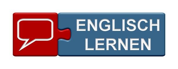 Puzzle Button rot blau: Englisch lernen