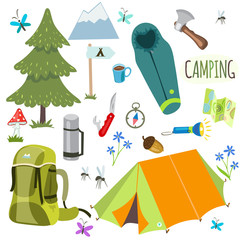 camping and Hiking equipment vector set