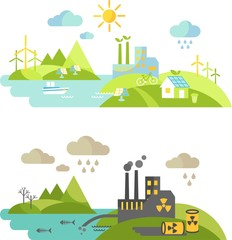 Landscape with nature ecology elements and ecology problem