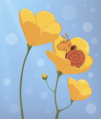 A sleeping snail and a yellow flower cartoon