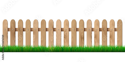 Wooden fence and grass - isolated on white background - 72676769