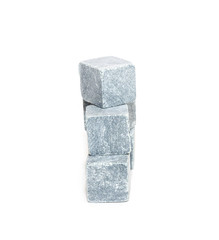 Stone cubes on white background