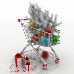 Shopping cart full with christmas balls with fir-tree