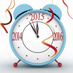 2015 year on alarm clock. 3d isolated icon on white
