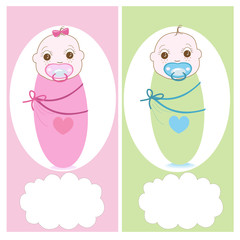 Swaddle baby with baby soother, boy, girl vector greeting card
