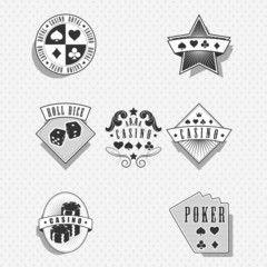 Casino and gambling labels and symbols - monochrome
