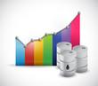 colorful graph and oil barrels illustration design