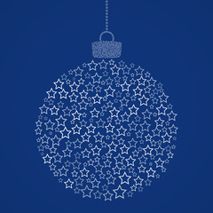Christmas ball consisting of line star icons on blue background