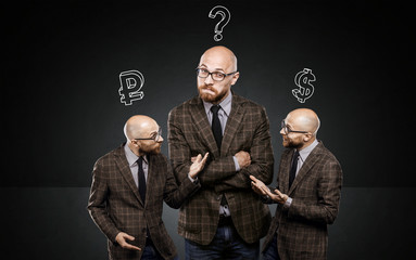 three identical men argue among themselves about
