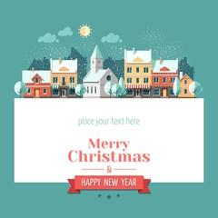 Christmas city greeting card - snowy street.