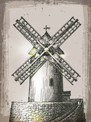 Windmill building in retro style. Hand Drawn Illustration