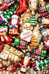 christmas baubles, toys and garlands. colorful ornaments