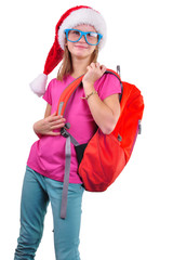 schoolgirl with Santa Claus red hat, backpack and glasses