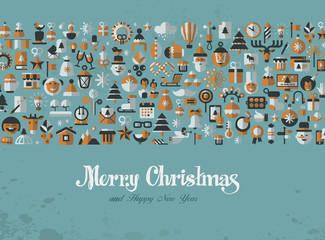 Merry Christmas. Greeting card. icons